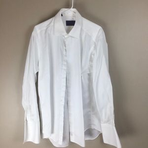 David Donahue mens white dress shirt 17 34/35